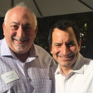 Assembly Speaker Anthony Rendon (right) and Rick Stein at a gathering in Newport Beach.